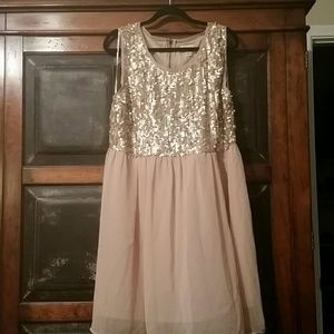 Forever 21 Plus Nude Chiffon and Sequin Dress